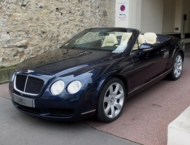 lhd BENTLEY CONTINENTAL GTC (06/2008) - BLUE METALLIC - lieu: