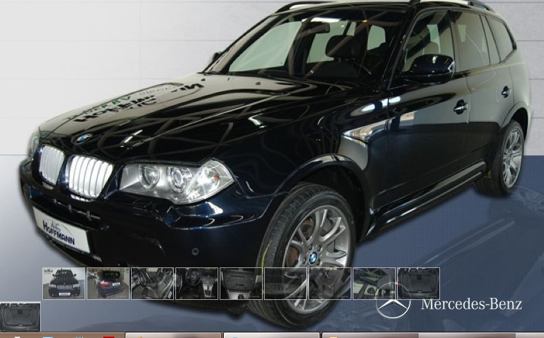 lhd BMW X3 (03/2010) - CARBON BLACK METALLIC - lieu: