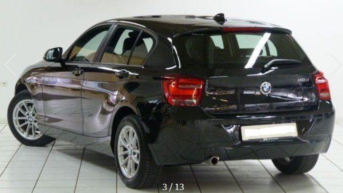 BMW 1 SERIES (03/2015) - BLACK METALLIC - lieu: