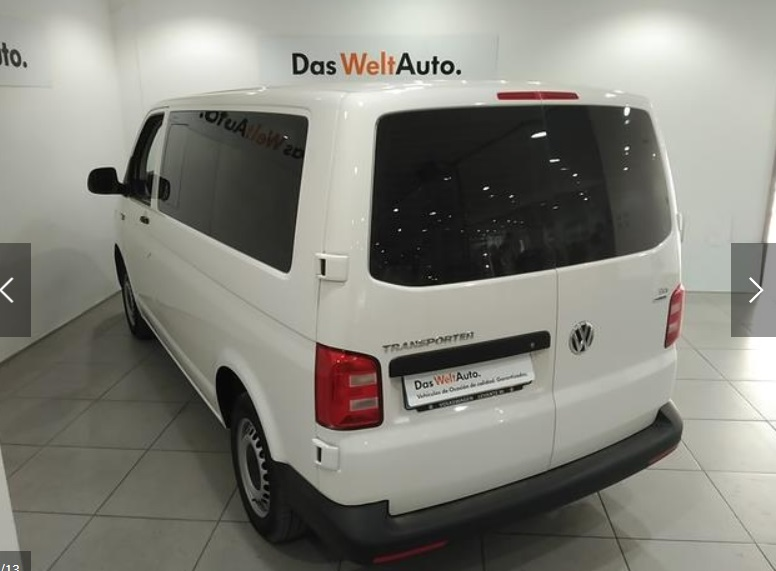 Left hand drive VOLKSWAGEN TRANSPORTER 2.0 TDI 102 CV KOMBI 9 SEATS SPANISH REGISTERED